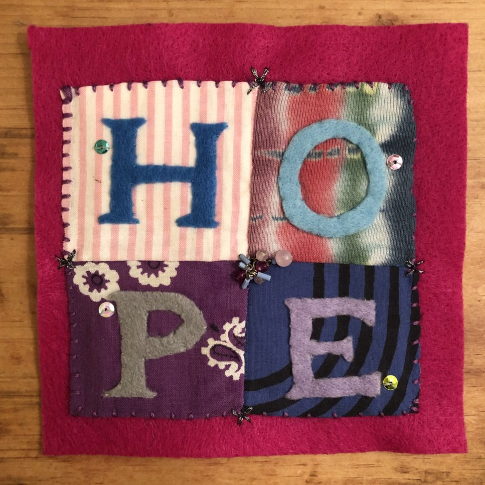 image of FemEdTech quilt square 'hope'