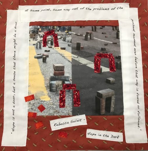 Quilt square with photograph of Hong Kong street debris